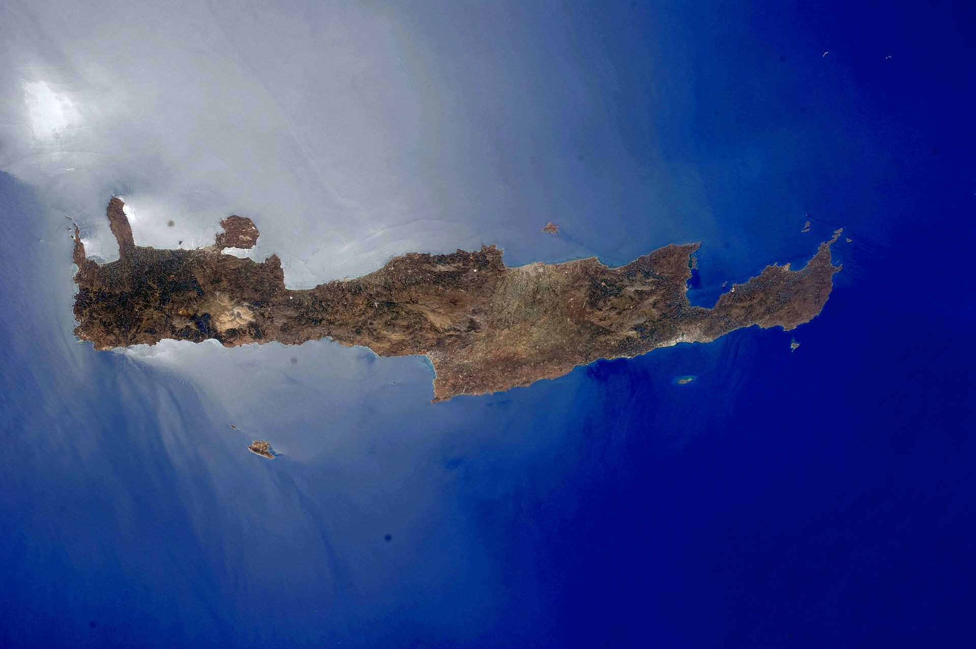 Crete from space. Picture by NASA Earth Observatory