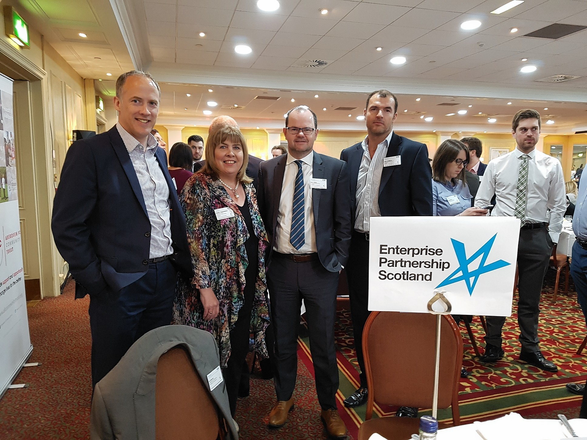 L - R: Stephen Hepburn (Head of Customer Banking, Aberdeen); Carolyn Maniukiewicz (Director, Ideas In Partnership); Brian Moran (Audit Partner); Steve Redhead (Managing Director, Mother Technologies)