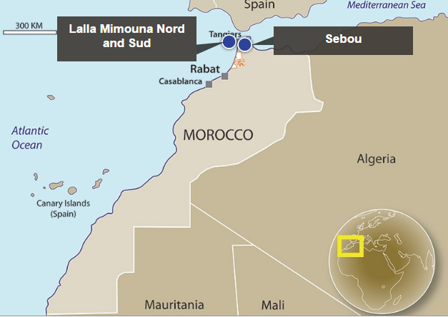 The locations of two of SDX's assets in Morocco