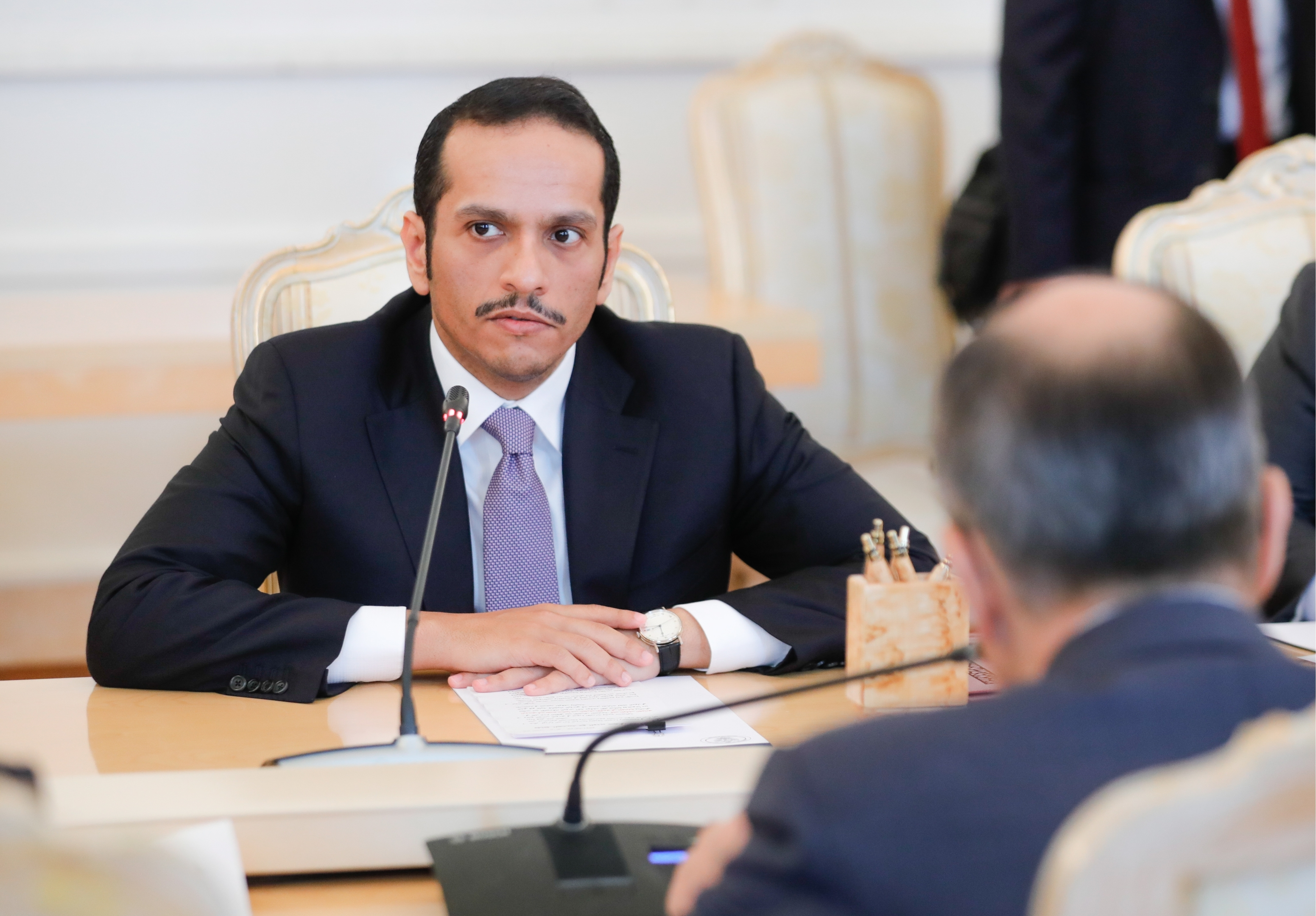 Qatar's Foreign Minister Mohammed bin Abdulrahman Al Thani during a meeting with Russia's Foreign Minister Sergei Lavrov at the Russian Foreign Ministry's Reception House