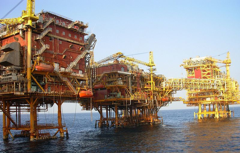 An ONGC platform at Bombay High in the Arabian Sea