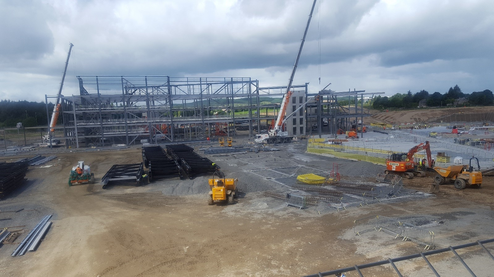 The steel frame for the AECC taking shape.