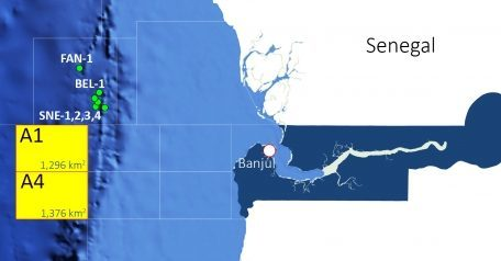 A map of the two disputed blocks off Gambia.