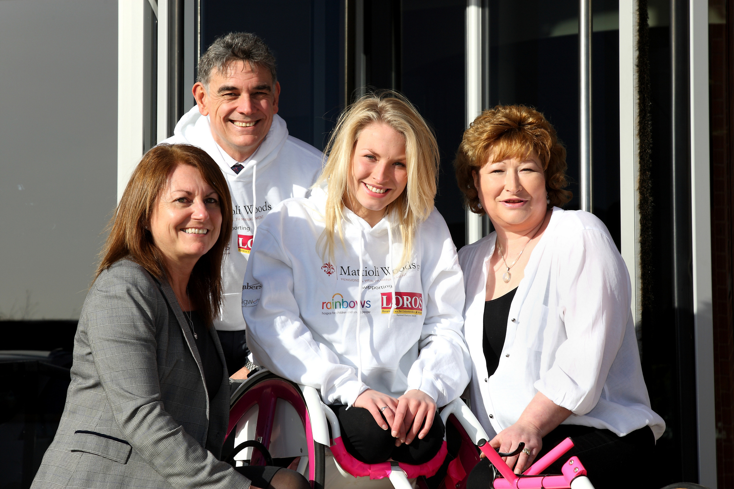 Sammi Kinghorn, centre, with Ian Mattioli, co-founder and chief executive officer of Mattioli Woods. Left is Clare Mattioli, Ian's wife. Right is Sammi's mum, Elaine.