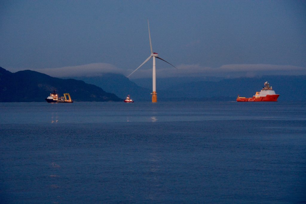 One of the turbines for the Hywind Floating Wind Farm off Scotland. Photo by Eva Sleire, Equinor.