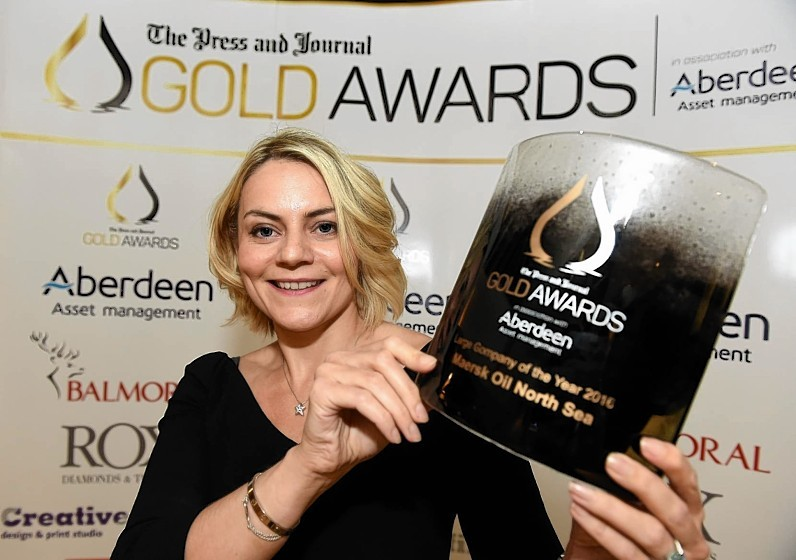 Nicola MacLeod, Maersk Oil UK Director, winners of Large Company of the Year Award 2016 at the Press and Journal Gold Awards held at the Marcliffe Hotel.