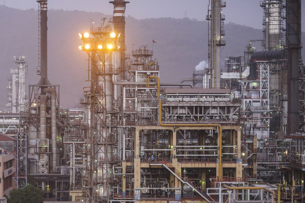 A Bharat Petroleum Corp. refinery stands in the Mahul area of Mumbai, India. Photographer: Dhiraj Singh/Bloomberg