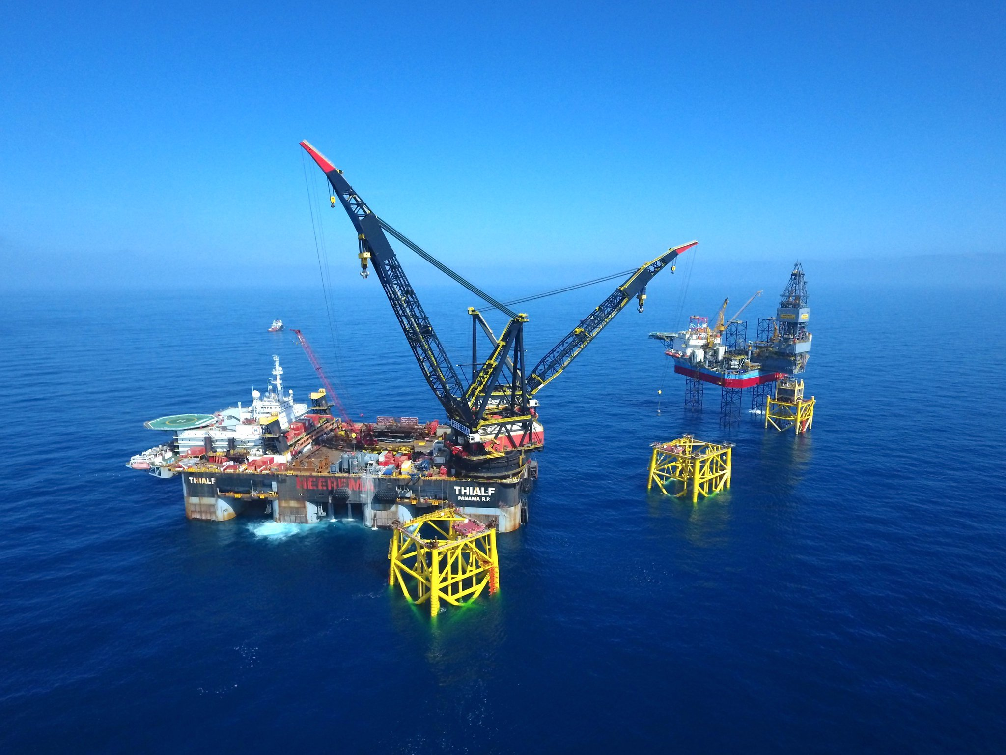 Platform jackets being installed on the North Sea Culzean field.