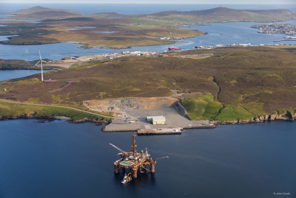 The Buchan Alpha platform being taken to Lerwick for decommissioning.