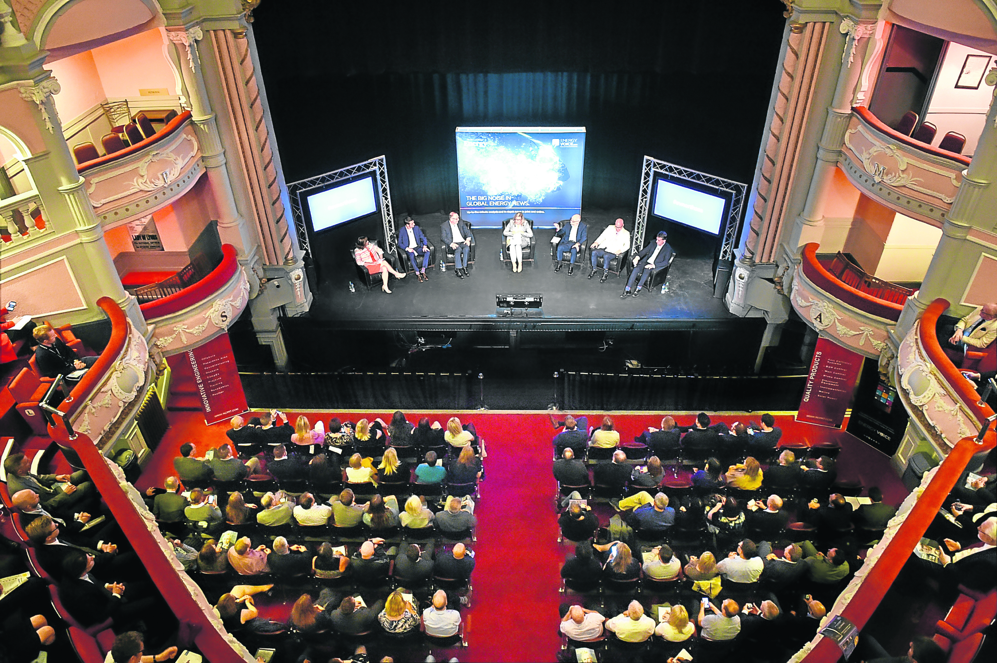 The New North Sea event held at the Tivoli Theatre in Aberdeen. The panel -  Colette Cohen, Chief executive of the Oil and Gas Technology. Nick Dunn, Services and Offshore Leader, Baker Hughes. Paul de Leeuw, Robert Gordon University's Oil and Gas Institute Dave Lynch, BP's Vice President of Reservoir Development. Rita Brown, Energy Voice Editor. Neil Sims, Expro's North Sea VP. Andy Samuel, Chief Executive of the Oil and Gas Authority (OGA) Picture by COLIN RENNIE  August 29, 2017.