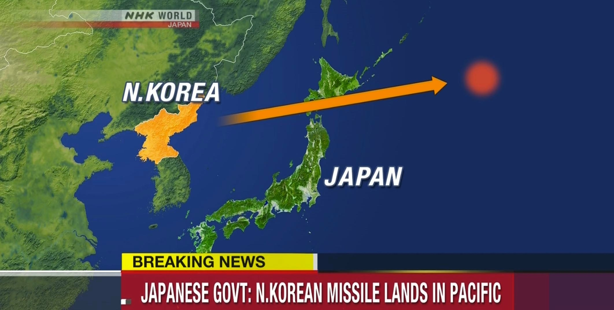 Local TV images after North Korea has fired a missile that flew over northern Japan before crashing into the sea, the Japanese government says. No effort was made by the Japanese to shoot down the missile, which was launched early in the morning local time, triggering safety warnings.