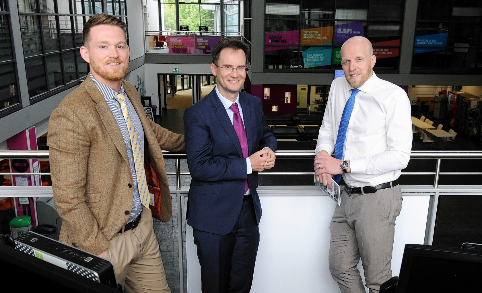 Dr Ian Broadbent, senior Lecturer and MBA Director with Robert Gordon Univeristy (centre) with students Kris Lindahl (left) and Ross Bremner (right). See business story MBA Oil and Gas management. Picture by COLIN RENNIE  June 8, 2017.