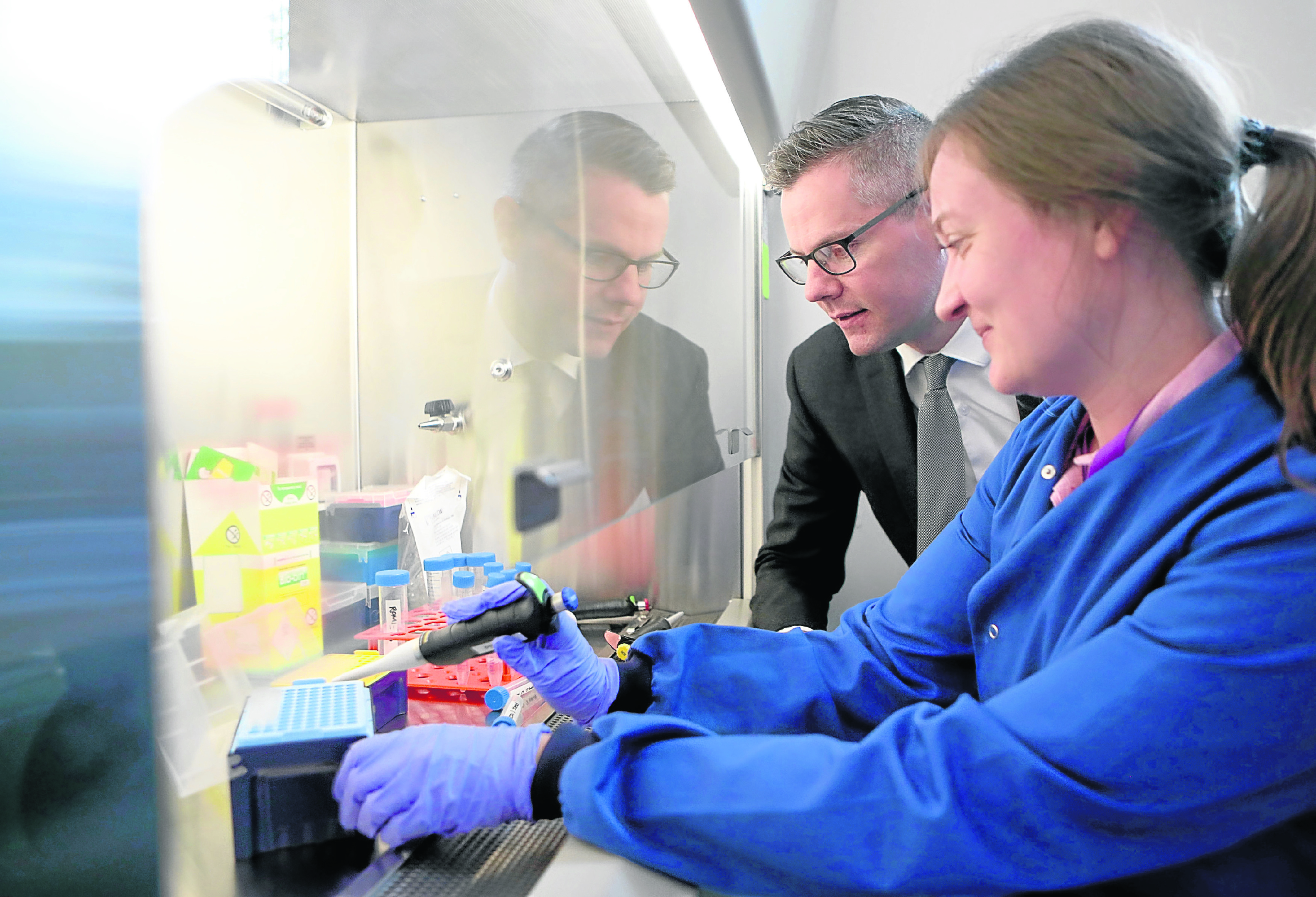 Finance Secretary Derek Mackay with Dr Joanne Hay during a visit to life sciences business, Aquila Biomedical, yesterday
