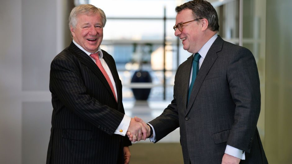 Keith Skeoch, Standard Life CEO and Martin Gilbert, Aberdeen Asset Management CEO, after the announcement of the merger