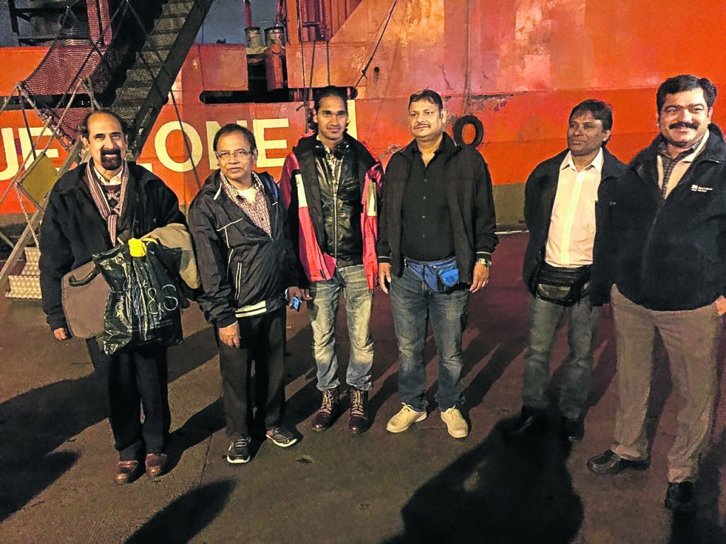 Six of the crewmen from the Malaviya Seven offshore supply vessel are heading home to India, while the remaining six are due to follow in around 10 weeks