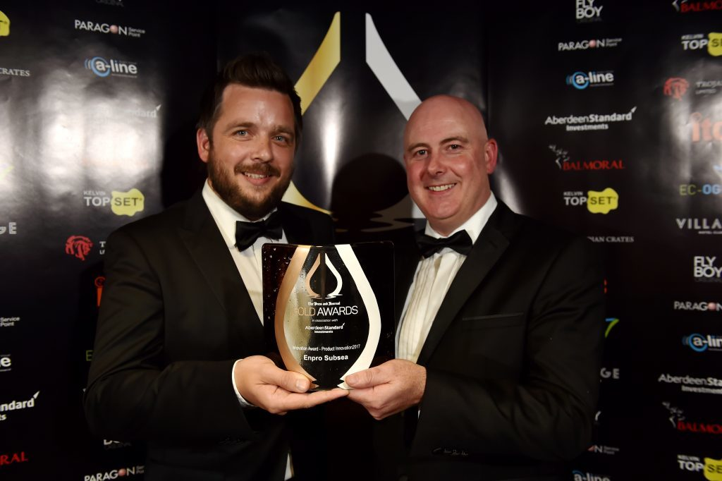 Press & Journal's Gold Awards 2017, at the Marcliffe Hotel.  Picture of Innovation Award - Product Innovation - Craig McDonald and Tom Bryce.  Picture by KENNY ELRICK     08/09/2017