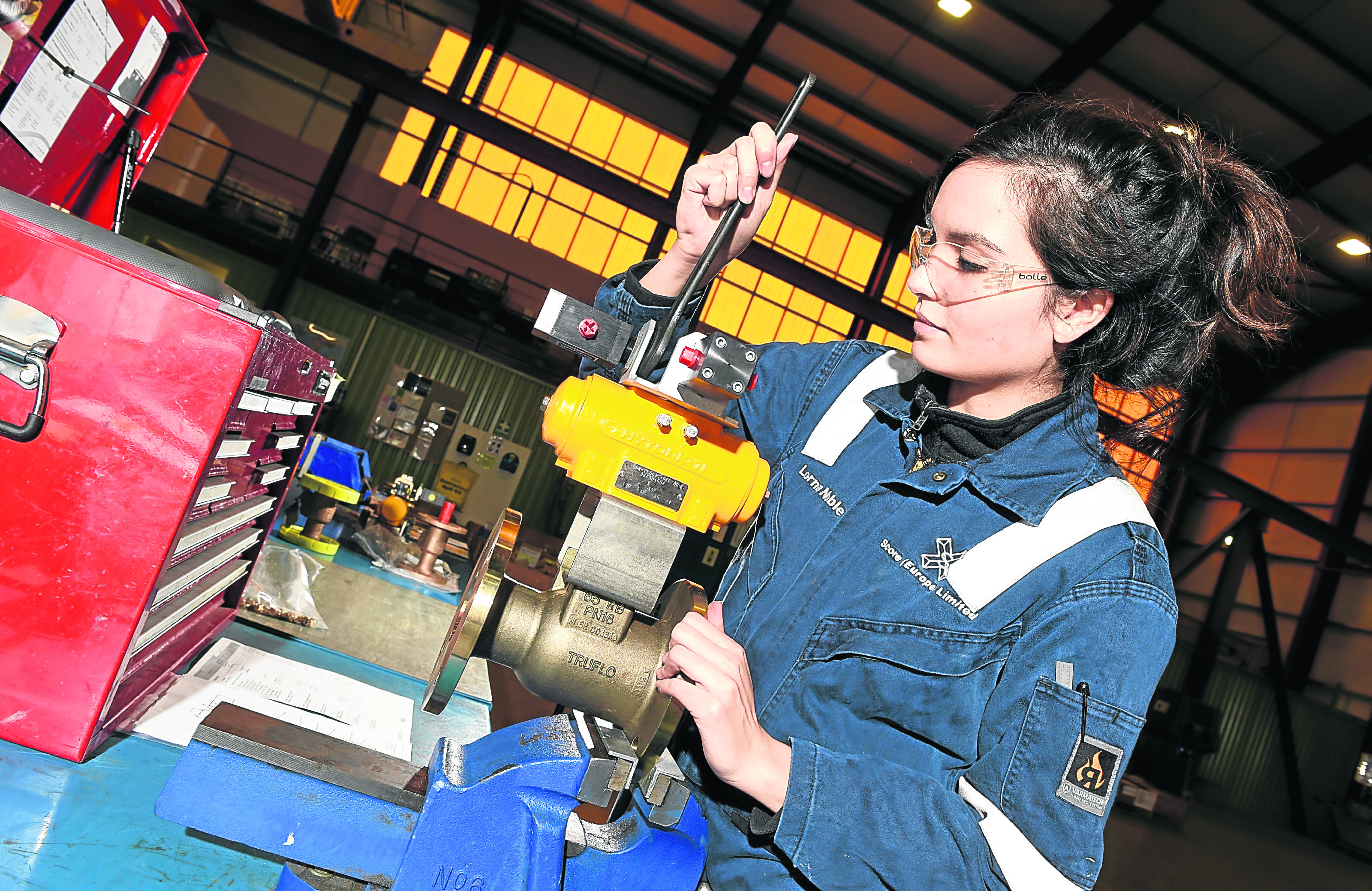 Score Marine Ltd apprentice Lorna Noble (valve technician) working at their warehouse in Peterhead.