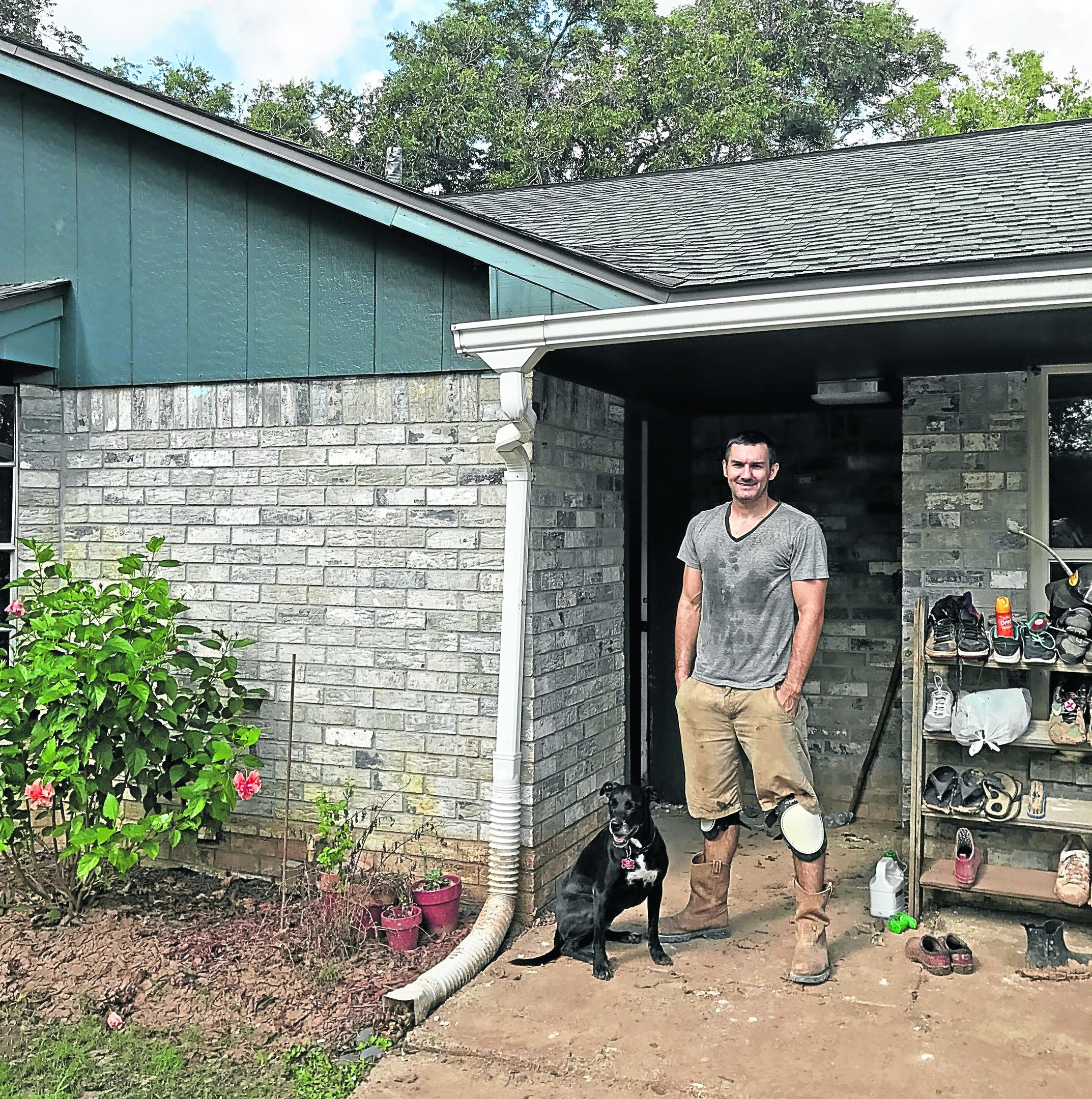 Colin Mackie after Hurricane Harvey wreaked havock on his home in Houston, USA.