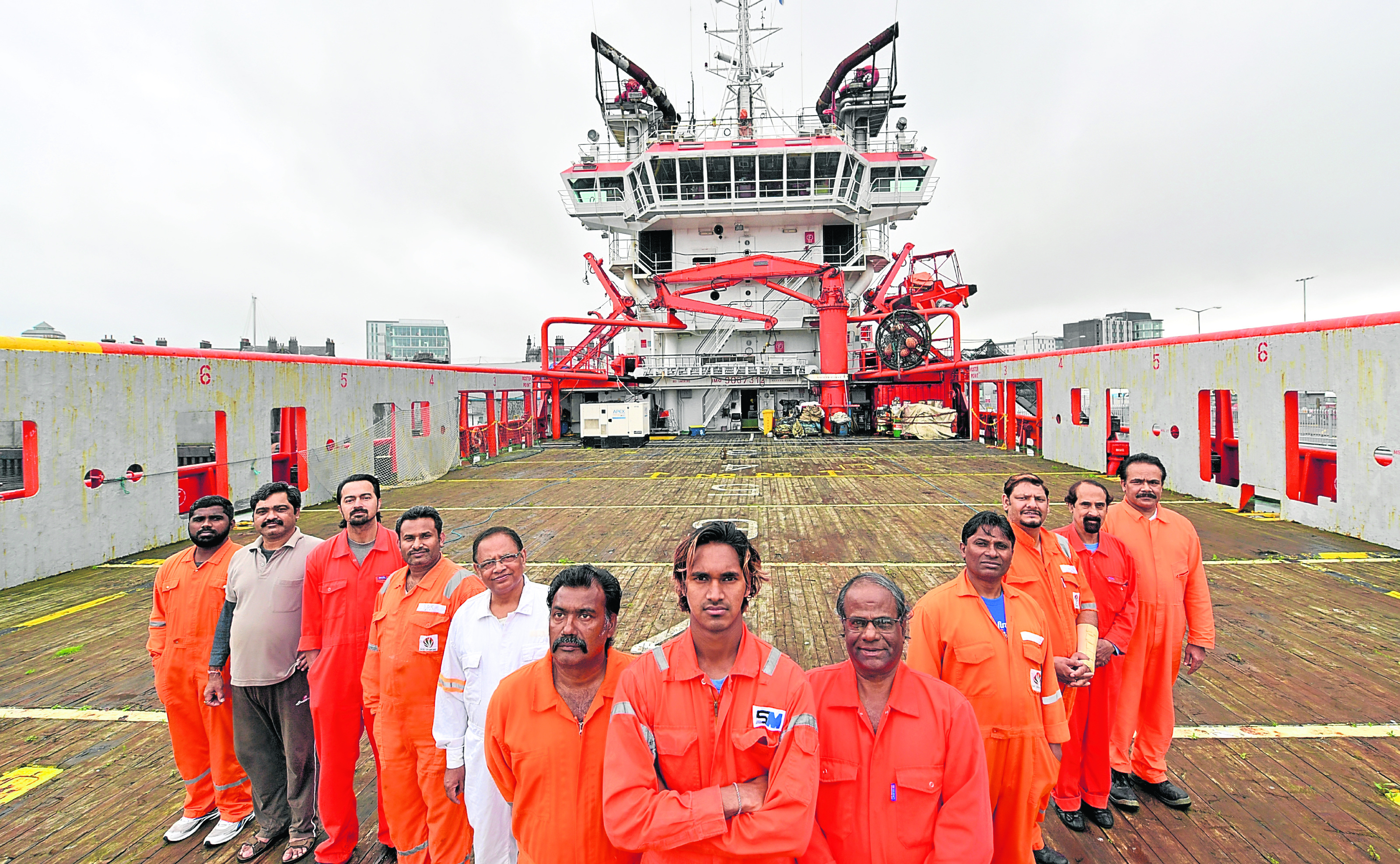 The crew of the Indian owned Malaviya Seven offshore vessel.
