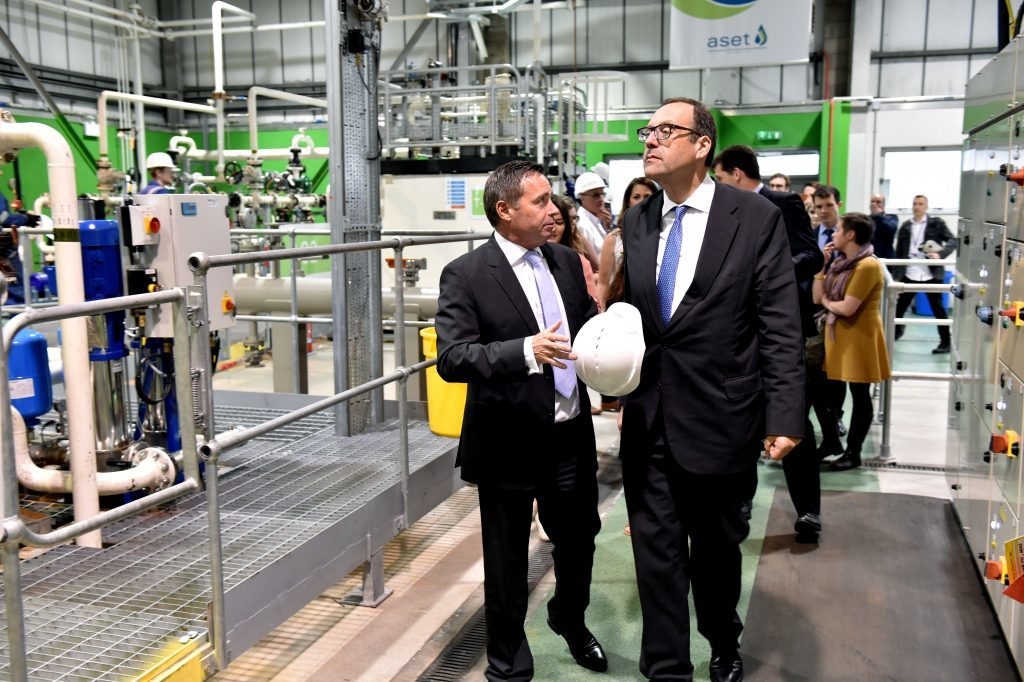 The UK energy minister Richard Harrington (right) visited the Aberdeen Skills and Enterprising Training (ASET) centre in Aberdeen. He is speaking with Chief Executive Atholl Menzies (left). Picture by COLIN RENNIE  August 30, 2017.