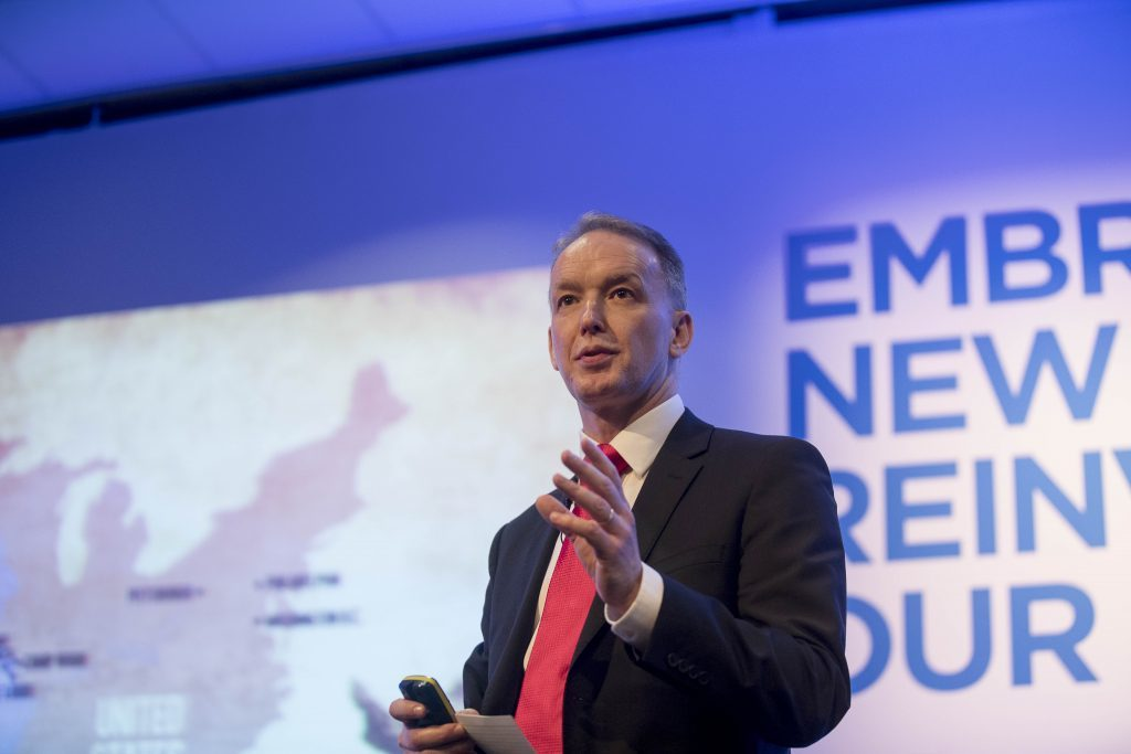 Robin Watson, chief executive of Wood Group, speaking at Offshore Europe 2017.