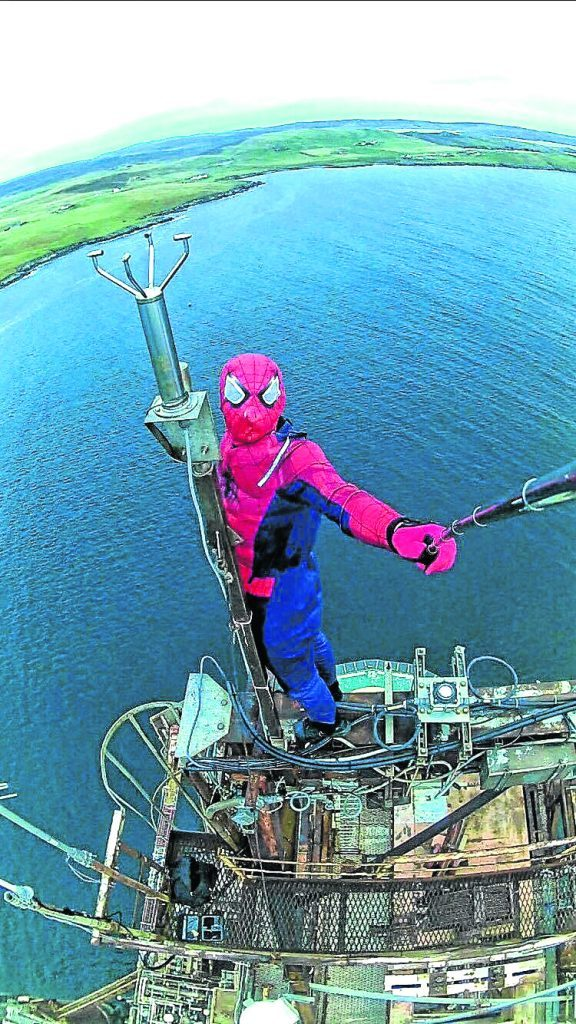 Spiderman's selfie stunt on oil platform. Shetland news