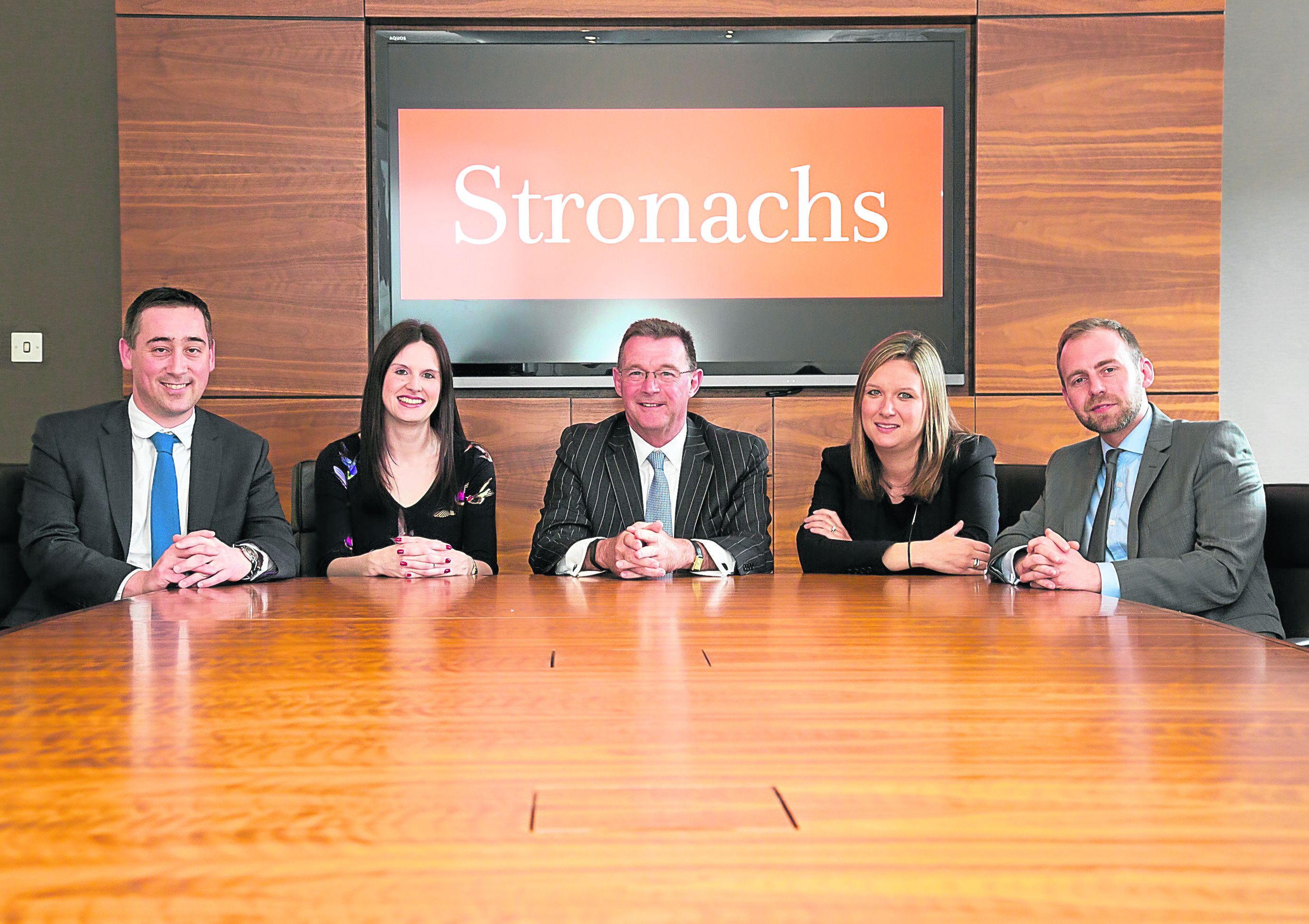 NEW HOME: From left, Ross Linn, Jaclyn Russell, David Rennie, Emma Stephen and Bob McDiarmid from Stronachs