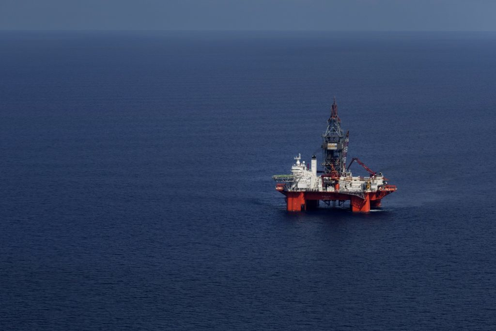 The Petroleos Mexicanos (Pemex) La Muralla IV deep sea crude oil platform stands in the waters off Veracruz, Mexico, on Friday, Aug. 30, 2013. Photographer: Susana Gonzalez/Bloomberg