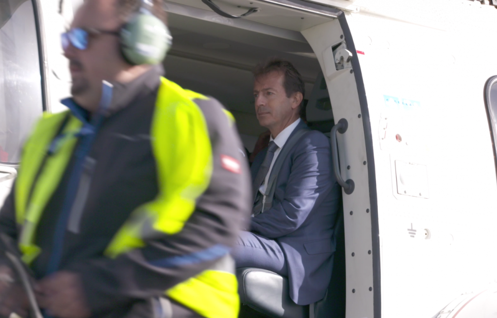 Guillaume  Faury, chief executive of Airbus Helicopters travels on the H225