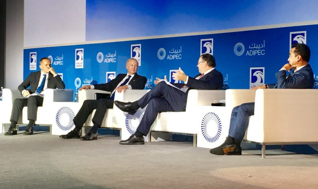 BP chief executive Bob Dudley, second from the left, at Adipec 2017