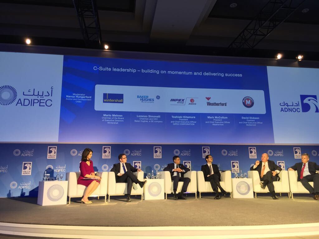 Panellists at the global business leaders session. Lorenzo Simonelli is third from left. David Dickson is on the far right.