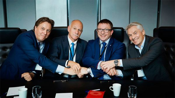 From left: Jørn Madsen, CEO of Maersk Drilling, Joe D. Rainey, President – Eastern Hemisphere at Halliburton, Karl Johnny Hersvik, CEO at Aker BP and Simen Lieungh, CEO at Odfjell Drilling