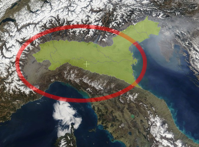The Padan Plain in Northern Italy (green) and the Po river basin in the Plain (red circle)