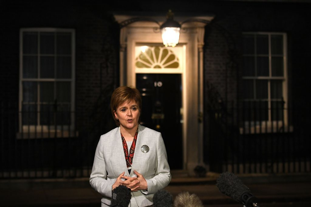 Scottish First Minister Nicola Sturgeon speaks to the media outside 10 Downing Street, London, after talks with Prime Minister Theresa May. PRESS ASSOCIATION Photo. Picture date: Tuesday November 14, 2017. Photo credit should read: Stefan Rousseau/PA Wire