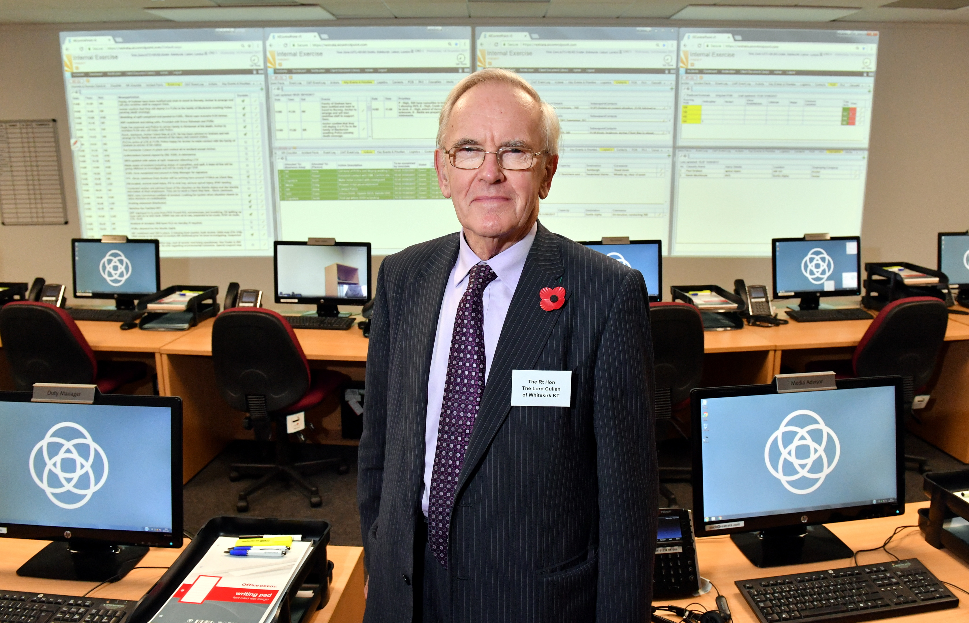 Lord Cullen at Restrata's new incident management centre at Provender House, Aberdeen.
