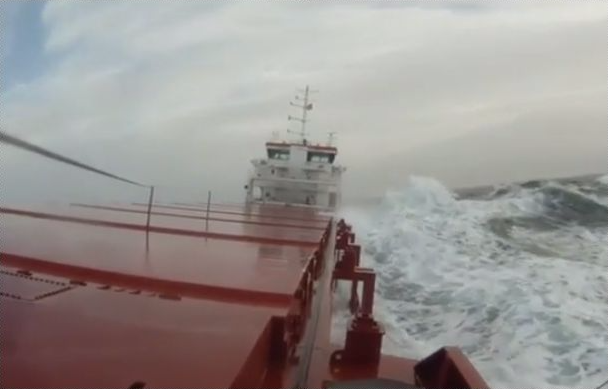 Video of a ship rolling off the coast of Norway