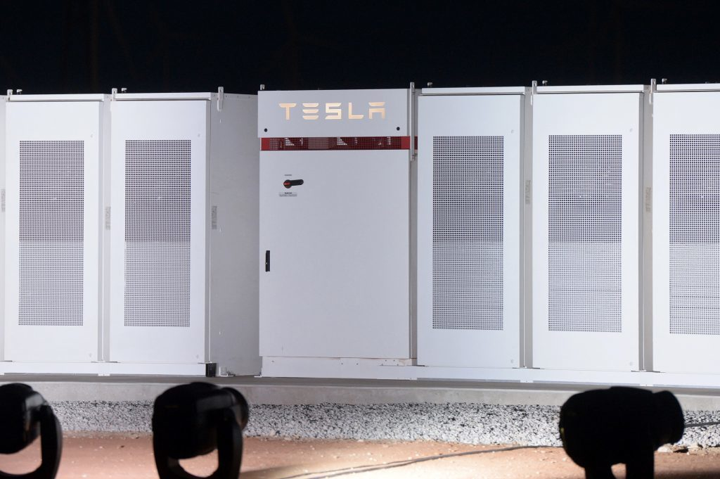TeslaPowerpacks that will be used to form theworld's largestlithium-ionbattery in South Australia. Photographer: Carla Gottgens/Bloomberg