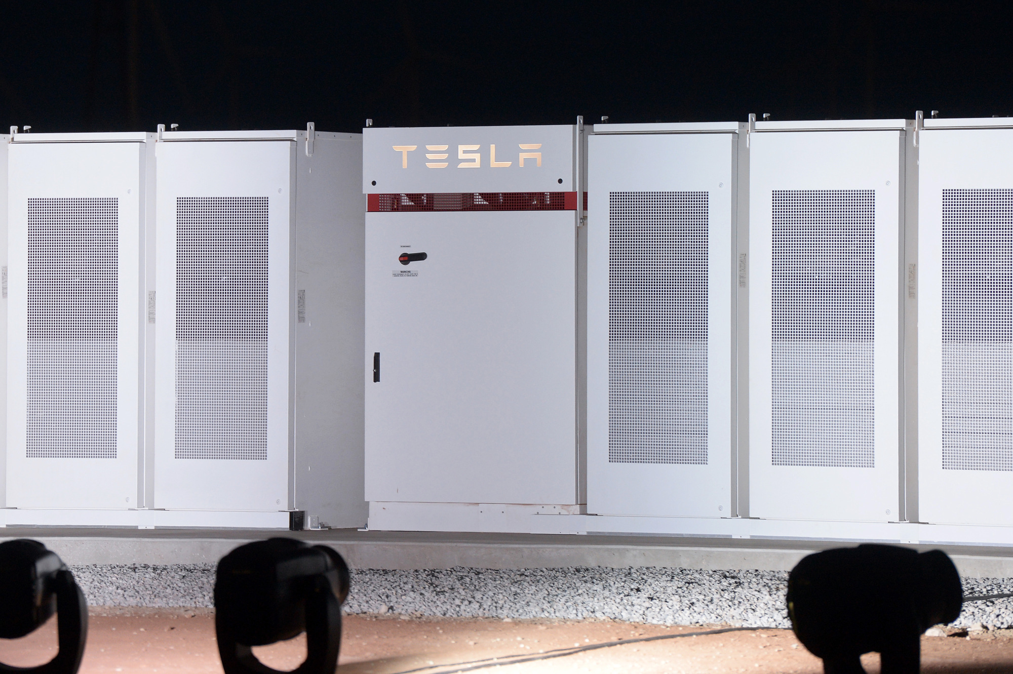 Tesla Powerpacks that will be used to form the world's largest lithium-ion battery in South Australia. Photographer: Carla Gottgens/Bloomberg