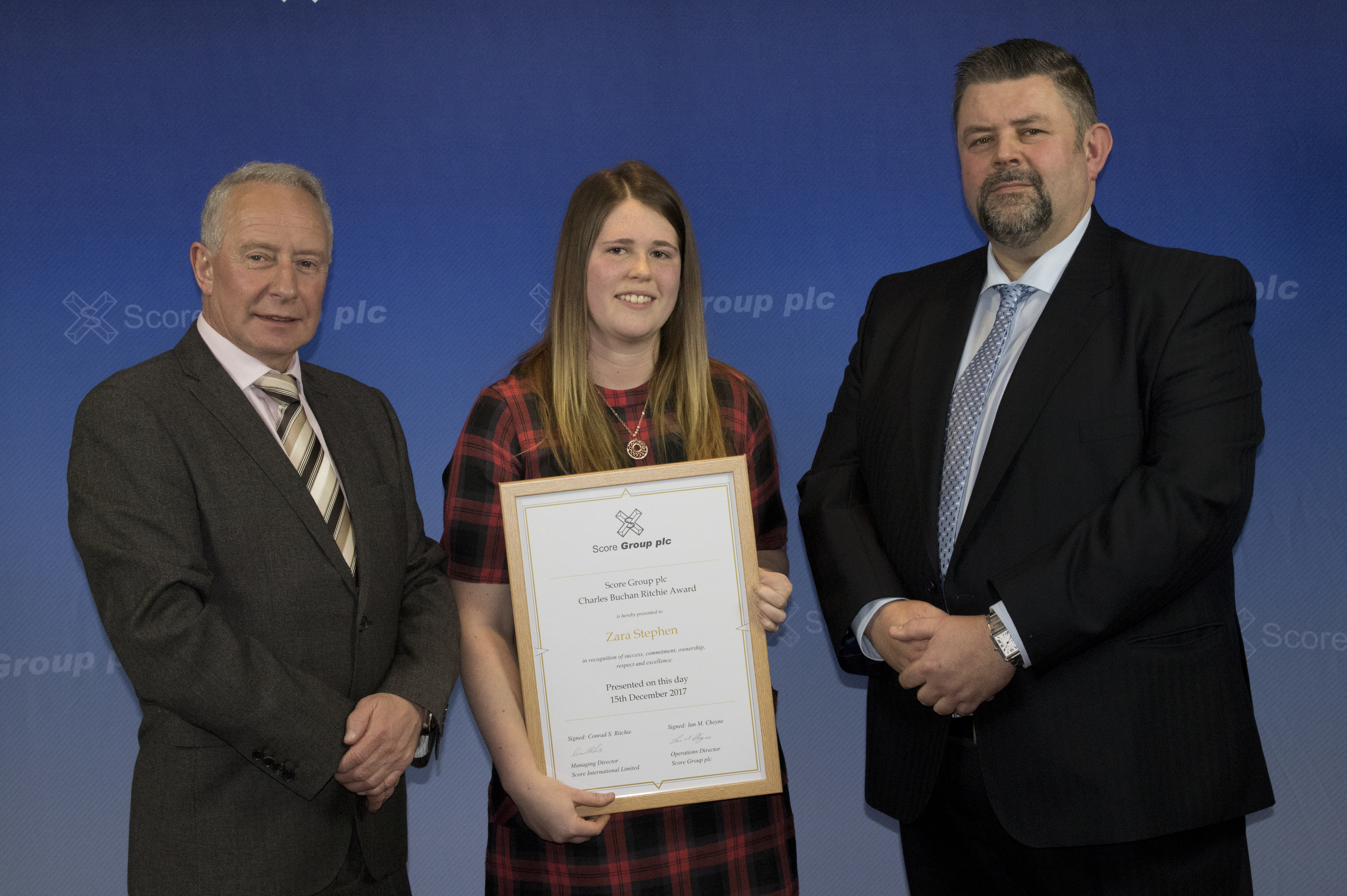 The Charles Buchan Ritchie Award was presented to Zara Stephen, pictured with Score Group operations director Ian Cheyne and Conrad Ritchie (right)