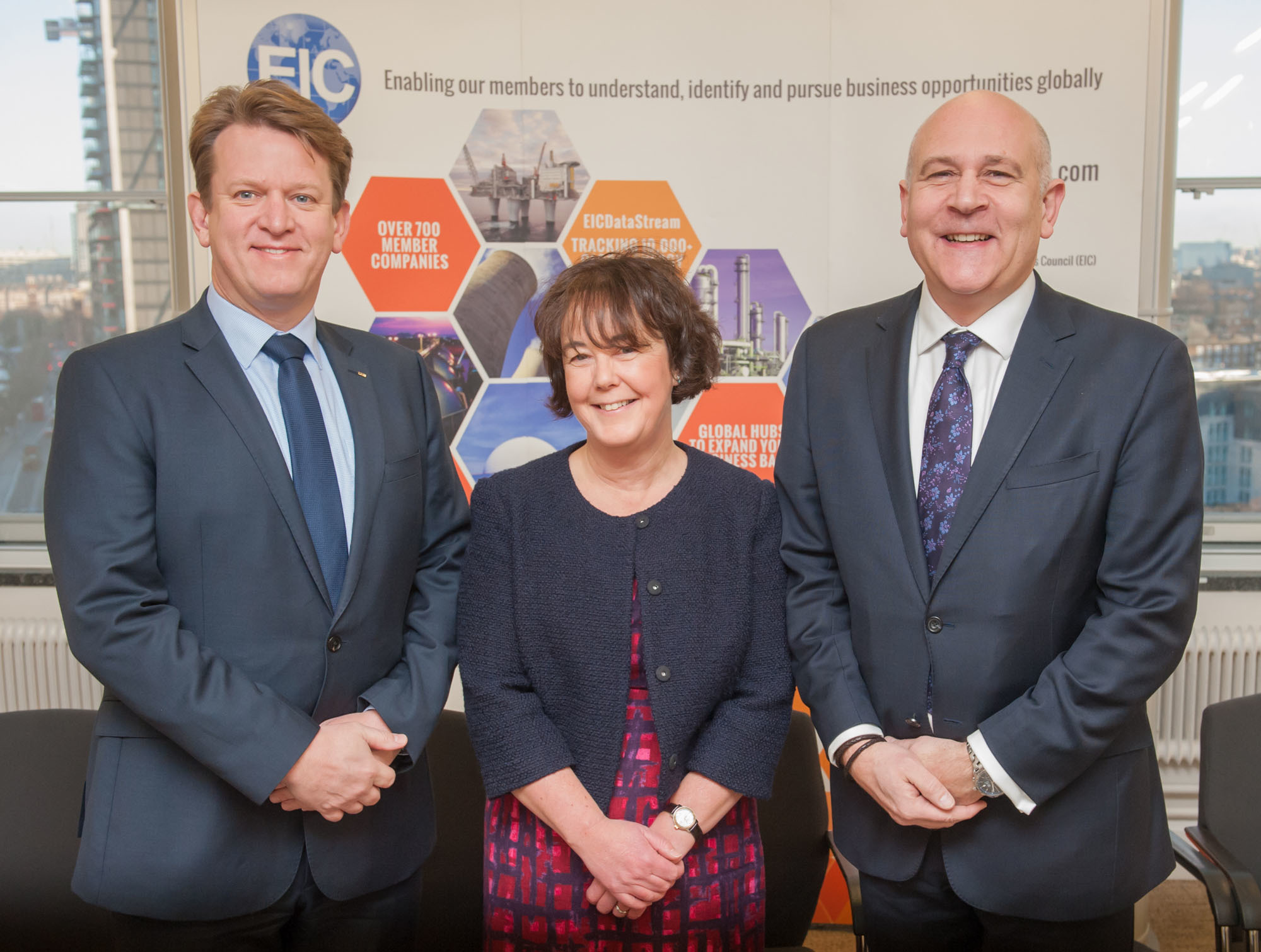 Left to RIght New EIC Board Members Duncan Reed and Louise Ledgard with EIC CEO Stuart Broadley.
