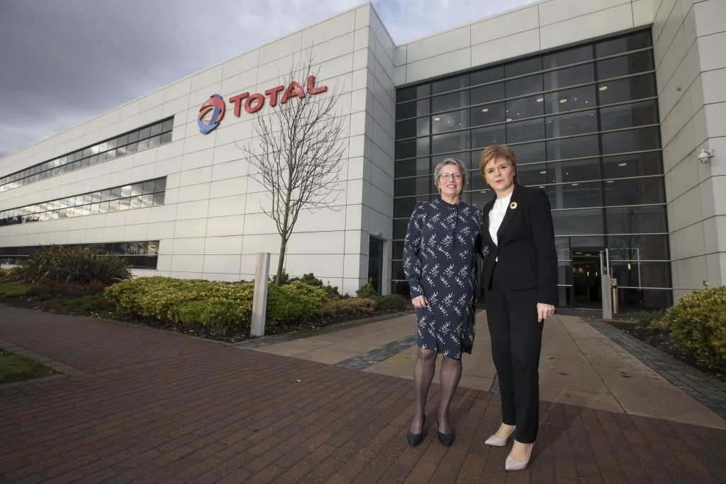 Total E&P UK managing director Elisabeth Proust, left, with First Minister Nicola Sturgeon at Total House in Westhill.