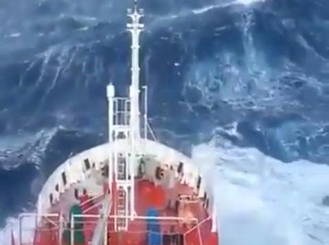 Ship battles North Sea waves.