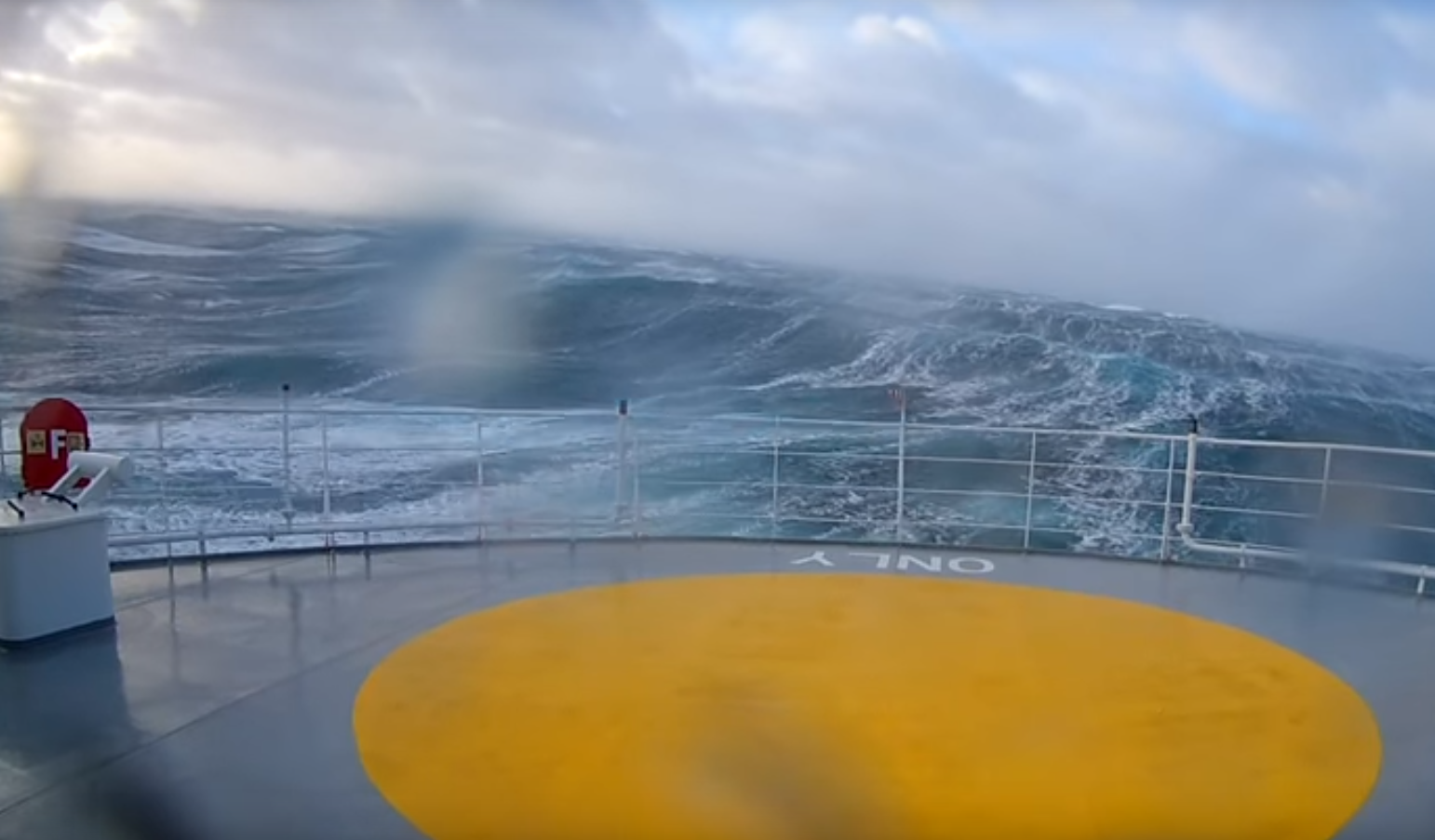 Video shows the 13 meter waves churned up by Storm Caroline.