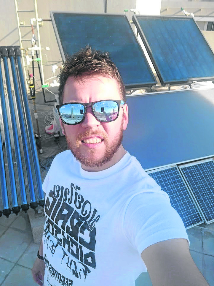 Josh King of AES teamed up Heriot-Watt University on the solar project
