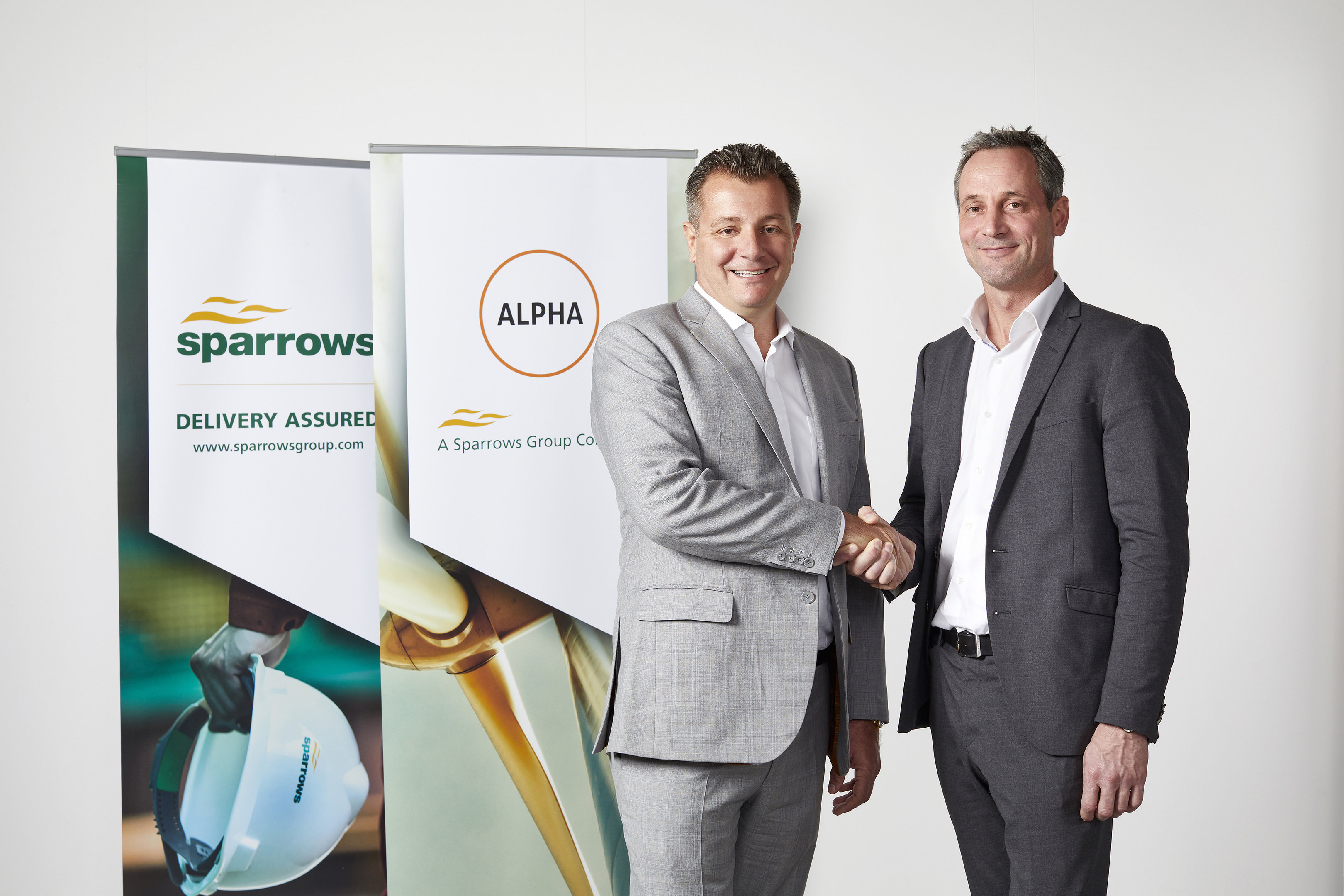 Stewart Mitchell, chief executive officer at Sparrows,  left, and Mikkel Lund, chief executive officer at Alpha Offshore