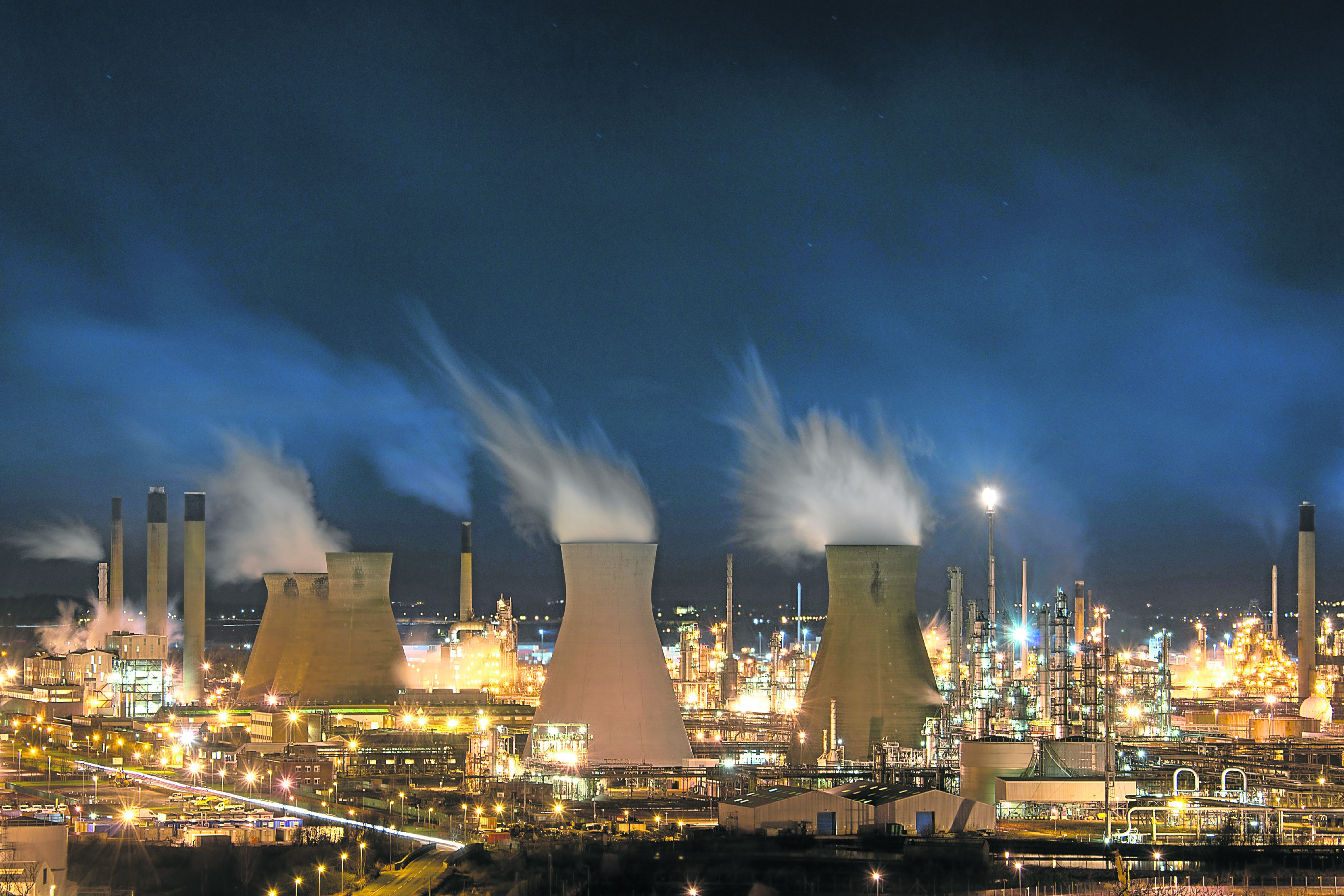 Ineos Grangemouth oil and petrochemicals refinery, one of the largest of kind in Europe, at night.