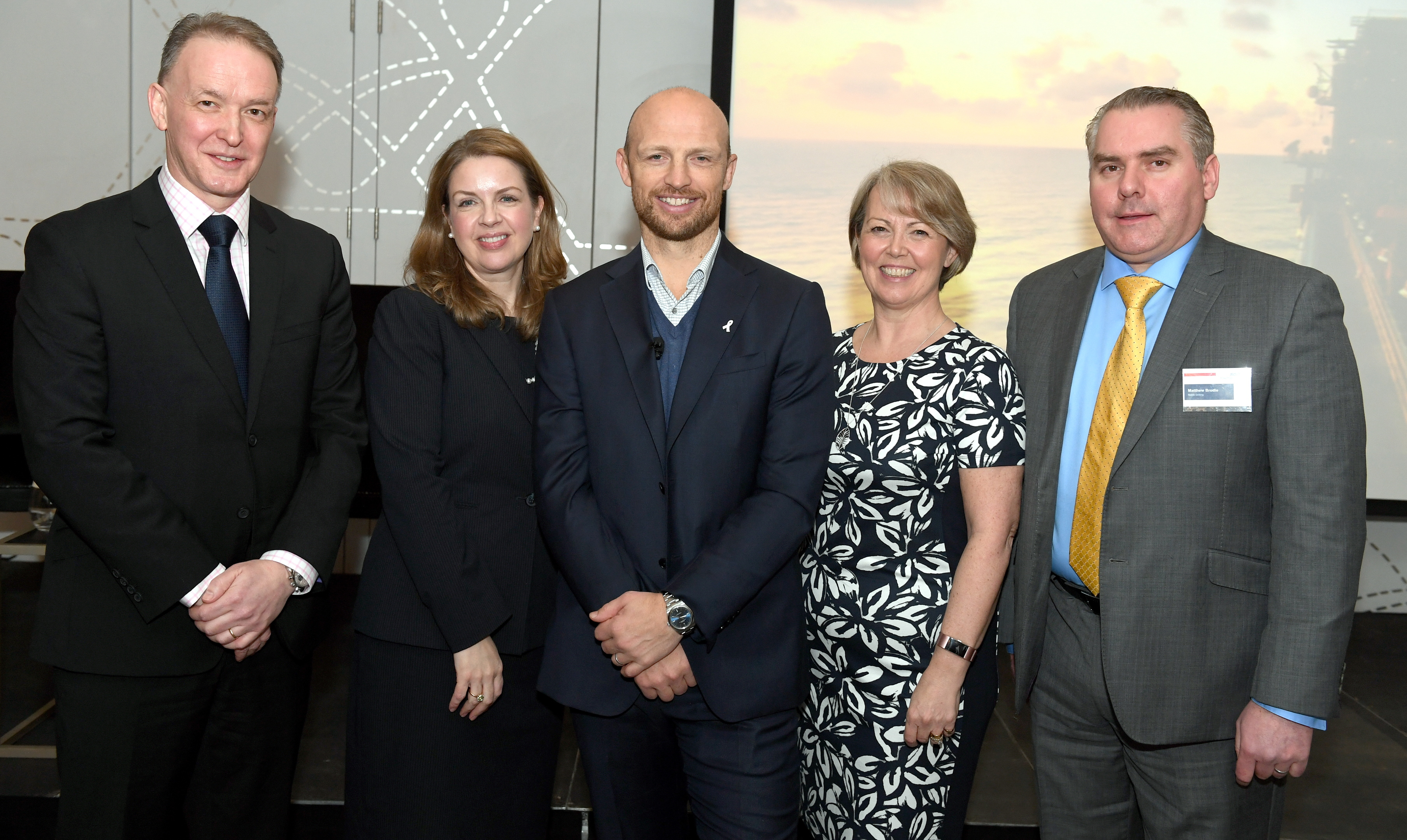 Photo Diary ;  Sodexo business breakfast with Matt Dawson at the Chester Hotel, Aberdeen.     Pictured - Robin Watson, Louise Goetz, Matt Dawson, Susan Elston, Matthew Brodie.     Picture by Kami Thomson    24-01-18