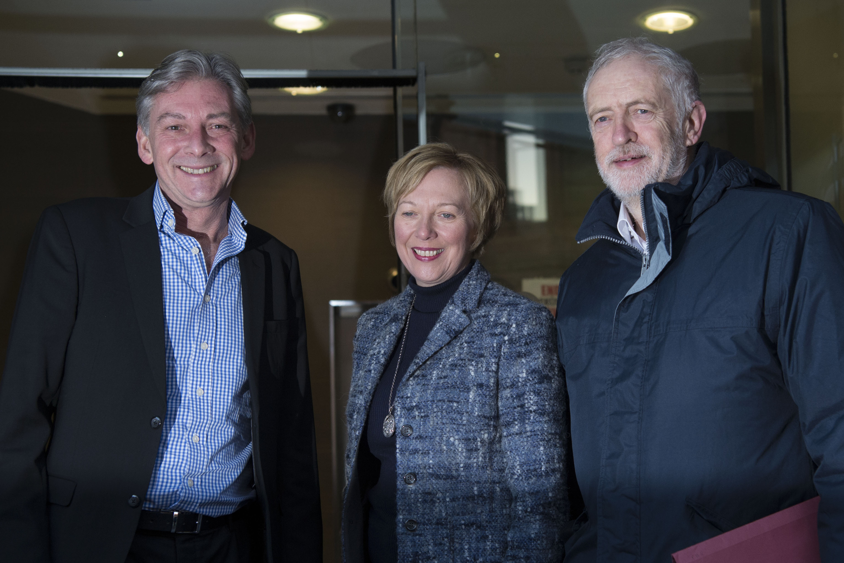 Labour Party leader Jeremy Corbyn (right) with newly elected Scottish Labour leader Richard Leonard and Lesley Laird MP ahead of the party's National Executive Committee (NEC) meeting in Glasgow. PRESS ASSOCIATION Photo. Picture date: Sunday November 26, 2017. See PA story SCOTLAND Labour. Photo credit should read: John Linton/PA Wire