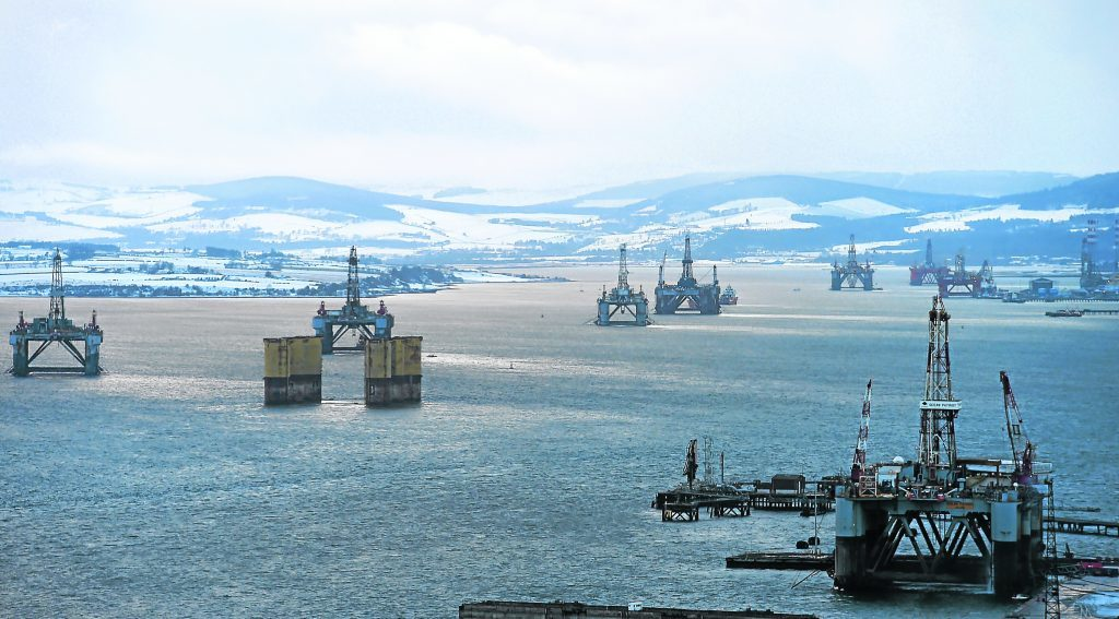 Oil rigs in the Cromarty Firth.