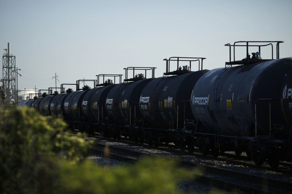 """Tanker cars sit parked in a CSX Transportation Inc. rail yard near the BP-Husky Toledo Refinery in Oregon, Ohio, U.S., on Monday, June 12, 2017. Global natural gas production stagnated last year as lower prices damped U.S. output for the first time since the shale boom started. Gas production was """"adversely affected by low prices, growing by only 0.3 percent,"""" BP Plc said in its annual Statistical Review. Photographer: Luke Sharrett/Bloomberg"""